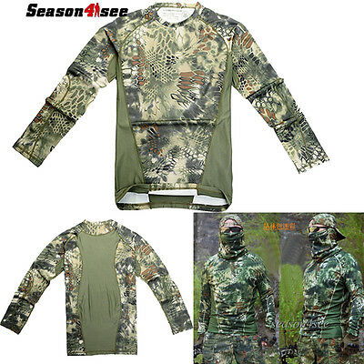 Men's Tactical Forest Camouflage Long-sleeve Cotton Blend T-shirt Hunt Army