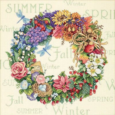 "Gold Collection Wreath Of All Seasons Counted Cross Stitch K-14""X14"" 18 Count"