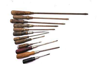 Vintage Collection of very early timber handle screwdrivers lot 202