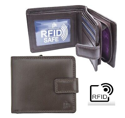 Prime Hide Washington RFID Blocking Brown Leather Wallet with Zipped coin Purse