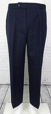 Vtg Mens Pleated Tapered Multi Pinstripe Wool Blend Trousers W34 L27 BZ33