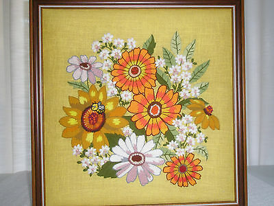 Beautiful Embroidered Picture Wall Hanging Flowers Bee Walnut Frame