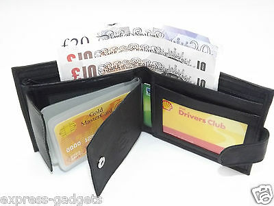 Men's Rfid Luxury Soft Black Real Leather Wallet Credit Card Holder Purse 64