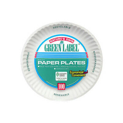 """AJM Packaging Corporation (100 Per Container) 9"""" Uncoated Paper Plate in White"""