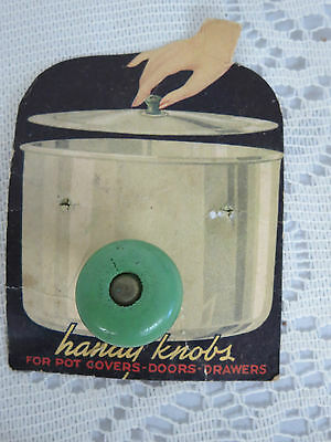 Vintage Handy Knobs Green Wooden Knob for Lids, Doors Drawers Wood NOS
