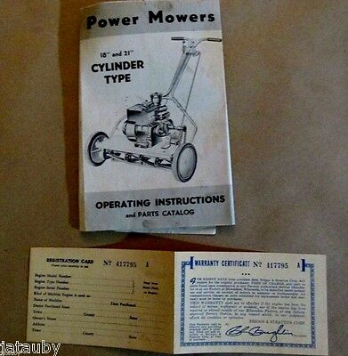 Vintage BRIGGS & STRATTON POWER MOWER OPERATING INSTRUCTIONS CATALOG & WARRANTY