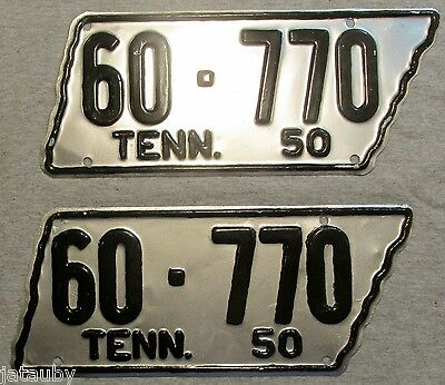Beautiful PAIR 1950 TENNESSEE STATE SHAPED LICENSE PLATES 60 770  White County