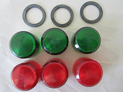Lot of 6 Lens for Pilot Light, Push to Test Button Lens, Green & Red, 31mm