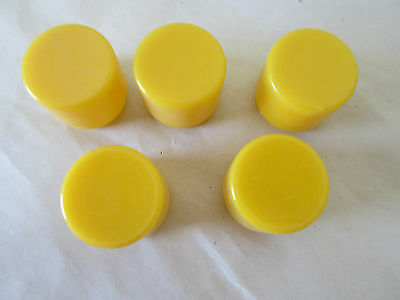 Lot of 5 Plastic Lens for Pilot Light, Push to Test Button Lens, Yellow, 20mm