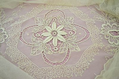Vintage Antique Heavily Hand Embroidered Tambour Netlace Table Cloth Ss122