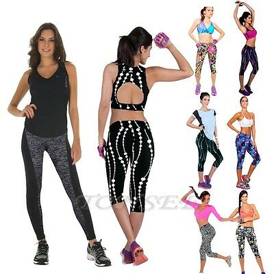 Womens High Waist Fitness YOGA Gym Sports Stretch Running Cropped Tights Pants