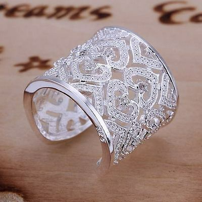 hot women sterling Silver plated gold plated Women Fashion Crystal open Rings
