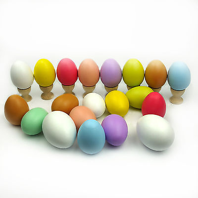 10X Wooden Easter Eggs Natural Wood  Kids Pretend Play Kitchen Food Cooking Toys