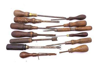Vintage Collection of early timber handle screwdrivers lot 218