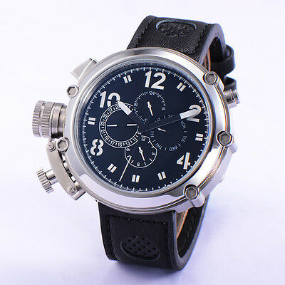 50mm Parnis Automatic Movement Men Sport Watch Black Dial White Numbers Big Face