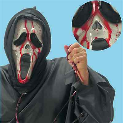 Maschera Scream Con Sangue E Cappuccio Horror Halloween