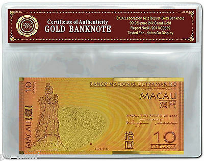 Colourised CHINA Macau 10 Patacas 24K Gold Plated Banknote With COA (n43c) NEW