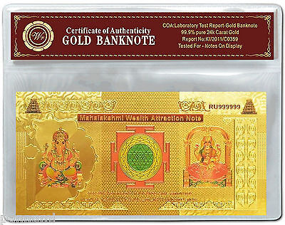Colourised INDIA Mahalakshmi Wealth Attraction Gold Plated Banknote COA (n44c)
