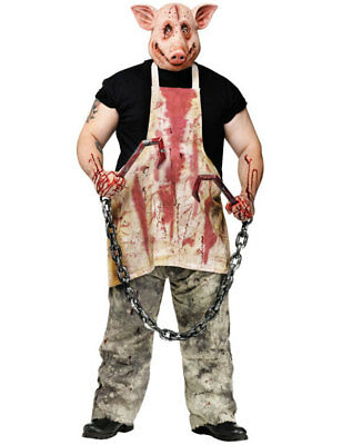 Mens Butcher Pig Saw Horror Movie Bloody Halloween Outfit Fancy Dress Costume