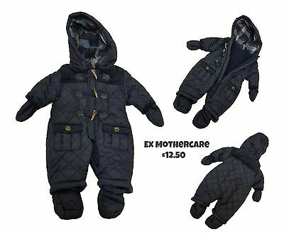 Baby Boys Snowsuit Pramsuit Coat Winter All In One Hooded Quilted Warm Newborn