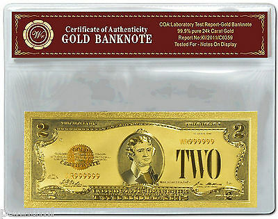 Colourised $2 USD 1928 Gold Certificate 24k Gold Plated Banknote COA (n47c) NEW