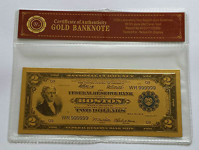 Colourised $2 USD 1918 24k Gold Plated Banknote COA (n46c) NEW
