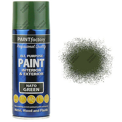 1 x 400ml All Purpose Nato Green Aerosol Spray Paint Household Car Plastic