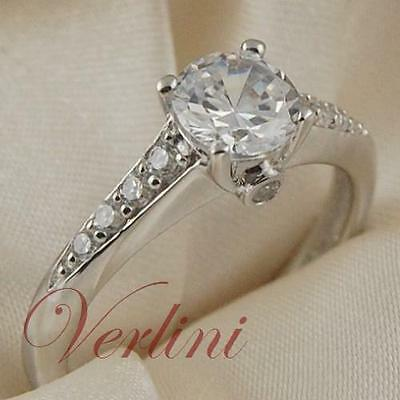 1.5Ct Round Cut Wedding Ring Women's Silver Jewelry Diamond Simulated Size 5-10