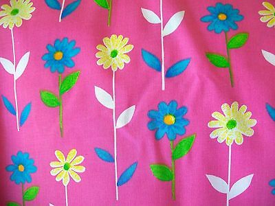 Spring Stemmed Flowers On Pink Cotton Fabric