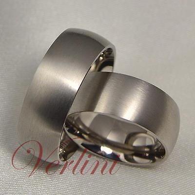8MM Titanium Rings His & Her Wedding Bands Matching Set Brushed Bridal Jewelry