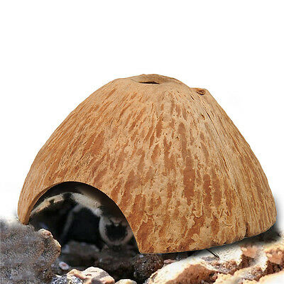 Reptile Hiding/Climbing Cave Real Coconut Shell Hideouts for Turtles Lizards