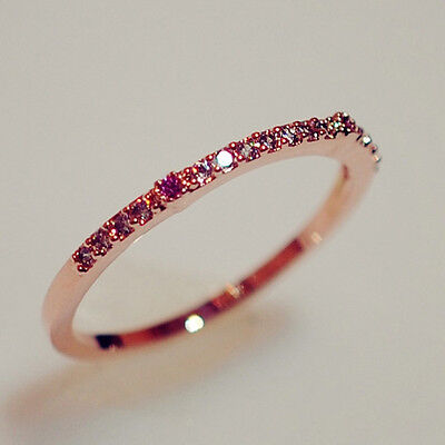 Red Lipstick CZ Engagement Ring Wedding Band 10KT Rose Gold Filled Jewelry Sz6-8
