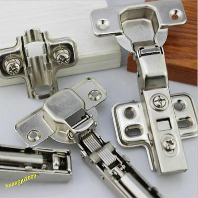 20 x SOFT CLOSE KITCHEN CABINET CUPBOARD DOOR HINGE HINGES EURO PLATE + SCREWS