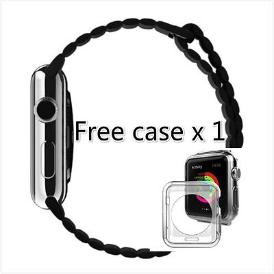 Black Leather Loop Watch Band Strap Magnetic Buckle for Apple Watch 38mm Case