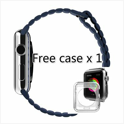 Blue Leather Watch band strap Magnetic Buckle for Apple Watch 38mm