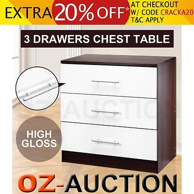 High Gloss Bedside Table Buffet Cabinet Chest Storage Lamp Night Stand 3 Drawer