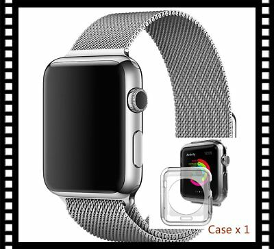 Silver Stainless Mesh Metal Strap Adapter For Apple Watch 42mmFree Protector