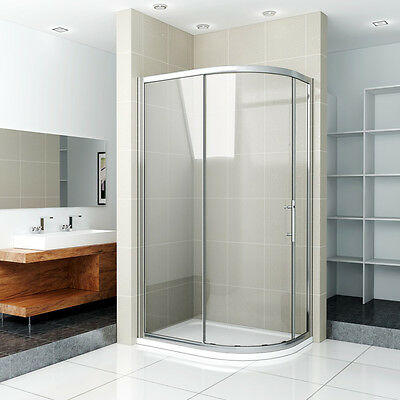 Aica Offset Quadrant Shower Enclosure and Tray Single Door Glass Corner Cubicle