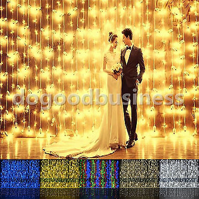 3M/6M 300/600LED Window Curtain Icicle String Fairy Lights Wedding Party Decor