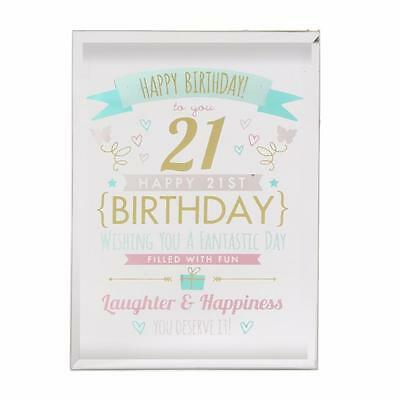 21st Birthday Gift - Glass Sentiment Plaque New Boxed FG50121