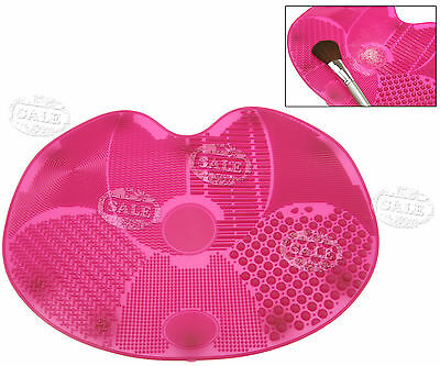 Silicone Cosmetic Brush Scrubber Board Clean Tool Cleaner Washing Mat Pad Pink