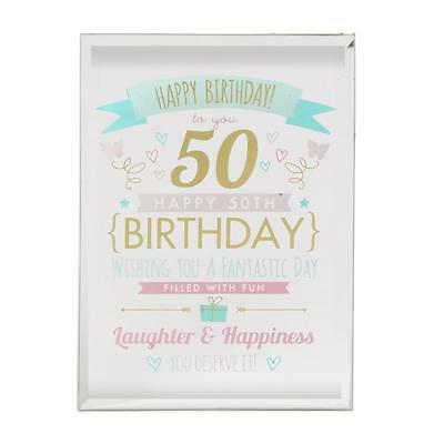 50th Birthday Gift - Glass Sentiment Plaque New Boxed FG50150
