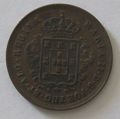 1852 Portugal 10 Reis; Copper Coin KM# 481; *XF*
