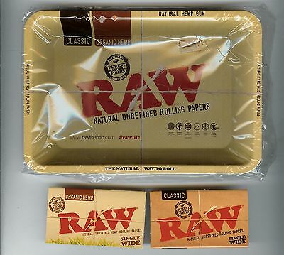 RAW Metal TRAY + Single Wide Rolling Papers Combo - Organic Hemp + Classic both