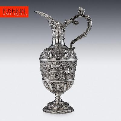ANTIQUE 19thC VICTORIAN SOLID SILVER CELLINI EWER JUG, SHEFFIELD c.1894