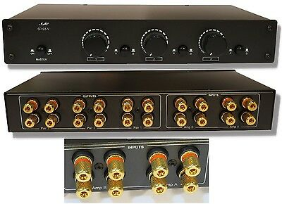 3ZONE 2AMP Speaker Selector Switch Switcher w Volume Control & Gold Plated Jacks