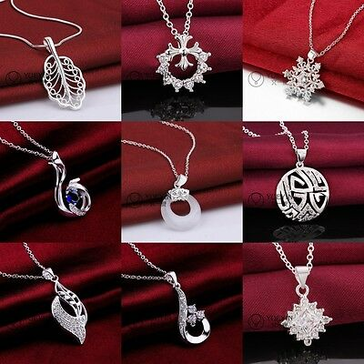 2017 new fashion 925Silver Jewelry Pendant Necklace Chain Jewellery Xmas gift