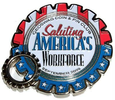 LABOR DAY GEOCOIN and PIN SET - NEW - UNACTIVATED - TRACKABLE
