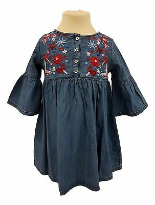 Girls Denim Dress Set Outfit Pinafore Casual 2 3 4 5 6 7 8 Years NEW RRP £14
