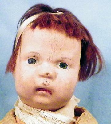 Antique Schoenhut Baby Doll Wood Wooden Mohair Wig Painted Eyes 5 Pc Body 12in